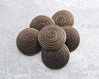 Nautical Metal Buttons, 20mm 3/4 inch - Etched Gold-Tone Metal Shank Buttons w/ Rope Swirl - 6 VTG Antiqued Gold Metal Spiral Buttons MT096