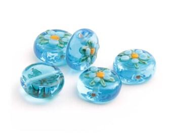 Lot (5) 14mm Vintage Czech floral overlay blue rondelle lampwork glass beads 2421-127