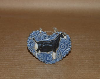 Handmade Stoneware Ornament- LaMancha doe in Blue