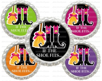 """20% OFF SALE Instant Download If The Shoe Fits Witch Halloween 1"""" Circle Bottle Cap Images"""