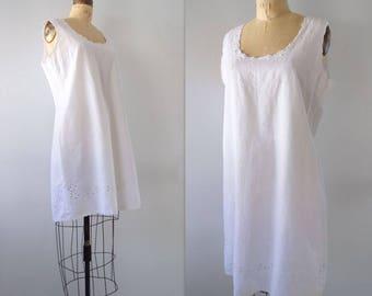 White Shift Dress White Linen Dress Vintage Sheath Dress 80s Summer Dress Embroidered Linen Dress M, L