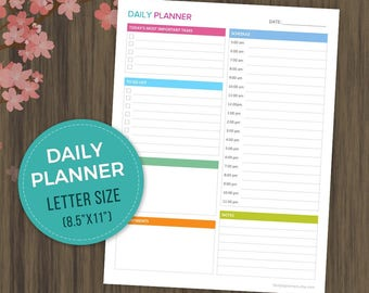"""Daily Planner Printable, Everyday Organizer, Daily Schedule, Daily Organizer, Planner Inserts, Life Organizer, Letter Size, 8.5""""x11"""", pdf"""