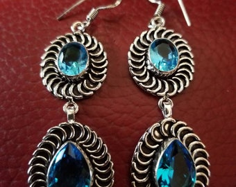 Aqua Blue Quartz Earrings!
