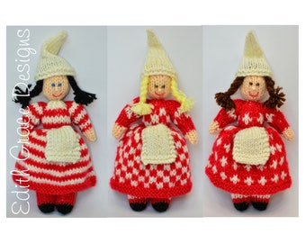 Scandinavian Folk Doll Knitting Pattern - Toy Knitting Pattern - PDF Knitting Pattern