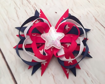 Patriotic Hairbow, Red White & Blue Hairbow, White Star Hairbow, Navy Blue and Red Hairbow, Girl Hairbow, Baby Hairbow
