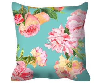 floral decorative throw pillow, shabby chic decor floral pillow, girls bedroom decor, shabby chic pillow, flower pillow, pink nursery pillow