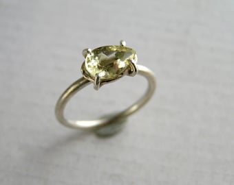 Golden Yellow Beryl Sterling Silver Ring