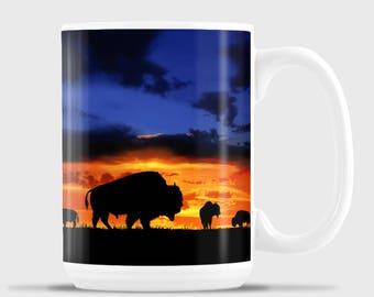 Silhouette Bison, Original Art work, Buffalo, Home on the range