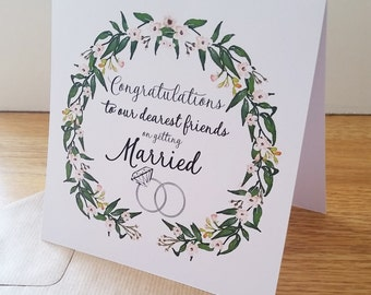 Congratulations To Our Dearest Friends on Getting Married Ditsy Floral Wreath Card