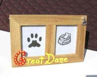 Final Markdown Sale...GREAT DANE Dog Breed Wood Desktop Double Photo Frame w/Pawprint Charm