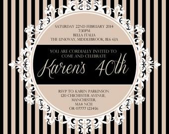 Ornate Frame | Stripes | Wedding | Party Invitations