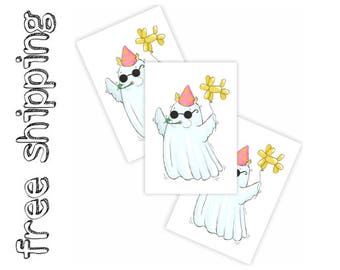 """Set of 3 temporary tattoos """"Ghost party"""". Halloween trick or treat bag supply, great to finish kids Halloween costume. Skin safe. TT244"""
