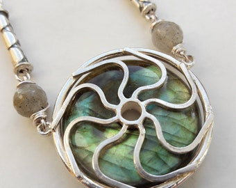 labradorite necklace set in solid sterling silver jewellery unique one of a kind artisan design boho wedding jewellery