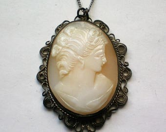 Vintage Sterling Silver Filigree Cameo Pendant Necklace - 4805