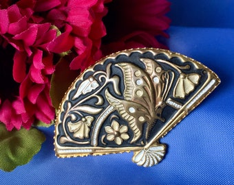 Vintage Damascene Style Fan Brooch, Butterfly Brooch, Damascene Brooch, Fan Brooch, Damascene Pin, Faux Damascene, Butterfly Pin