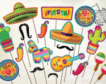 Fiesta Photobooth Props - Digital Download -Printable Party Decoration Mexican Cinco De Mayo Spanish Sombrero Holiday Jalapeno Viva Maracas