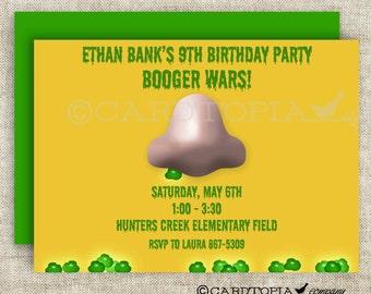 BOOGER WARS BIRTHDAY Invitation Boy Birthday Invite Digital diy Printable Personalized - 156467378