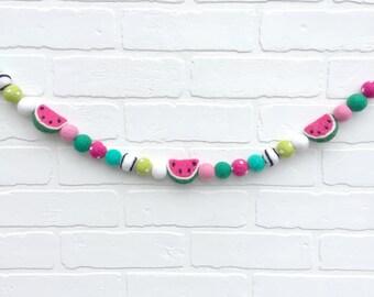 Slice of Melon Felt Pom Bunting   Summertime Watermelon Felt Ball Garland with Dark Pink POLKA DOT Pom