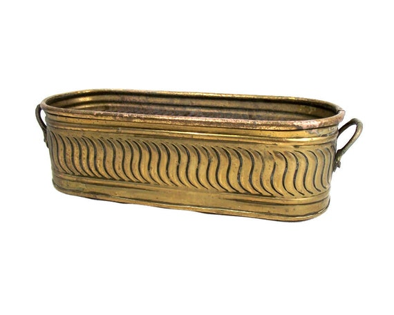 Long Brass Planter with Handles