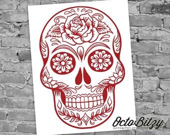 Sugar Skull, Dia de los Muertos, Day of the Dead, Decal Sticker