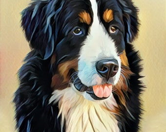 Custom Dog Portrait 8x10 or 10x10 print Custom Cat art Custom Dog memorial gift Pet Loss Gift Bernese dog Bedroom wall art Stylized pet art