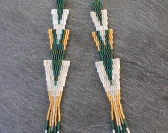 Long Translucent Green Forest Beaded Earrings