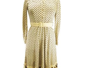 Vintage 1970s Bunny Hem Dress UK 8-10