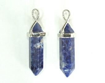 Sodalite Pencil Point Pendant, Hexagonal Point Pendant, Blue Sodalite Crystal Silver Pendant