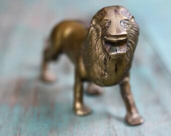 Roaring Brass Lion, Brass Lion Figurine, Vintage Brass Figurine, Brass Lion, Lion Decor, Vintage Brass, Brass Animal, Safari