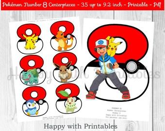 Pokemon GO Number 8 Centerpieces - Pokeballs Centerpieces - Pokemon GO - Pikachu - Pokemon Centerpieces - Pokemon party - Pokémon printable
