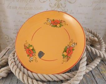 Enamel, black tray, hand painted, enamel tray, vintage, plate, kitchen, enmael bowl, tray, brocante,