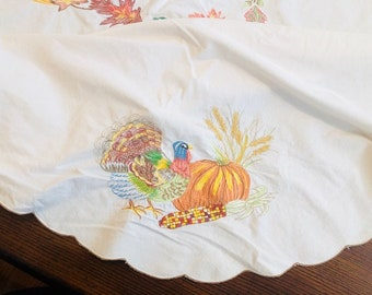 Beautiful Vintage Embroidered Fall Thanksgiving Turkey & Pumpkin Tablecloth,  Autumn, Fall Colors Large Table Cloth
