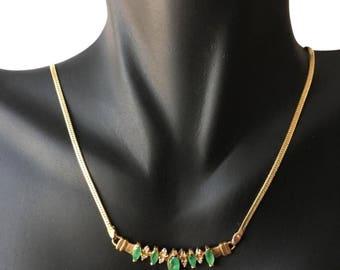 14k diamond and emerald necklace