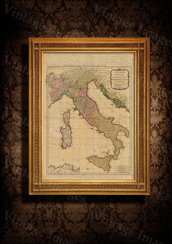"Old map of Italy (1794) Italian map in 5 sizes up to 43""x55"" Restoration decorator Style Vintage map of Italy, Antique Home Decor Wall map"