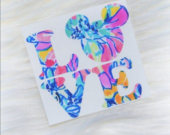 Disney - Mickey Love Vinyl Decal - Lilly Pulitzer Inspired
