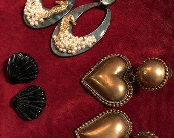 Lot of 3 sets of vintage 80's retro clip earrings mermaid shells seahorse hearts new wave