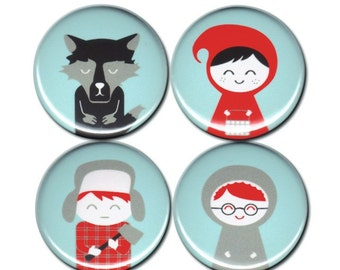 SALE Little Red Riding Hood Pin Set of 4 One Inch Pinback Buttons