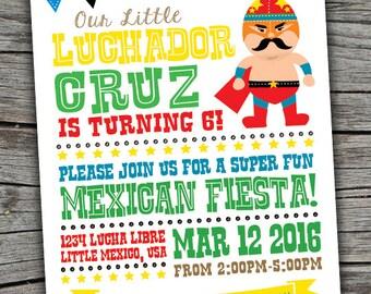 Luchador Invite / Fiesta Invite/ Lucha Libre Invite/ Mexican Wrestler Printable Invitation/ Pick Your Favorite Wrestler/ Fiesta Invite