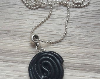 Necklace polymer clay black licorice candy treats