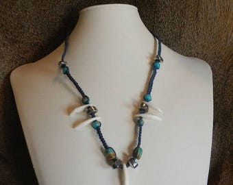 Gift for Her - Coyote Tooth and Turquoise Necklace - All Natural Beads on Navy Blue Hemp - Custom Hemp Jewelry - Blue Hemp Necklace