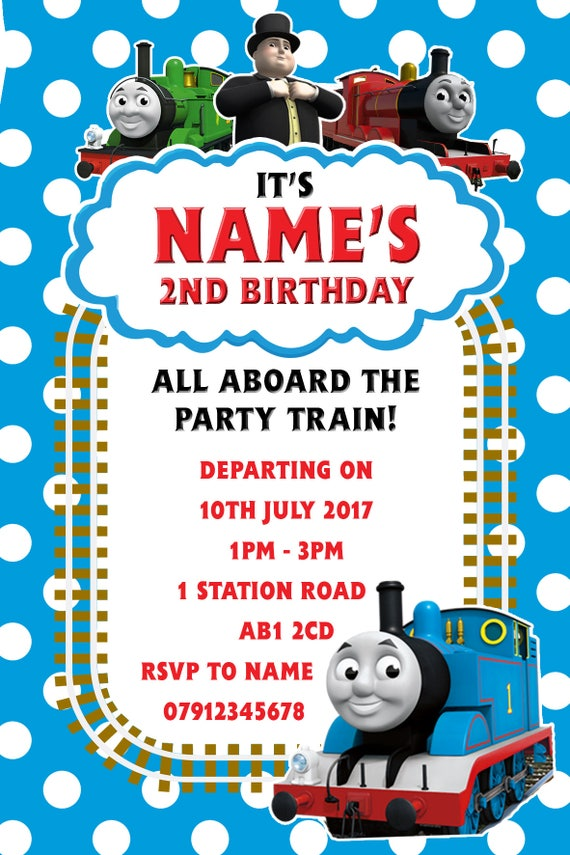 Personalised Thomas the Tank Engine Party Invitations and