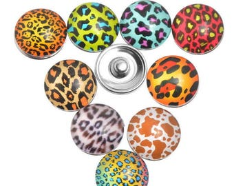 Leopard print 18x10mm faceted chunk snap button