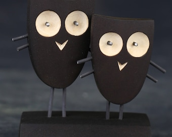 COUPLE OWLS - Handcrafted Wooden Gift. Unique and Modern Collectible Art and Gift made of Nontoxic Natural Materials