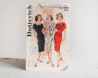 Vintage 1950's Sewing Pattern / Butterick 9298 / Sheath Dress Misses fitted Dress Bateau Neckline Fichu Collar