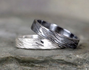 4mm Hammered Bark Texture Wedding Band – Sterling Silver – Commitment Rings – Wedding Bands – Unisex Design – Rustic – Tree Branch Finish