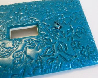 Peacock pearl leaf impressed single, double, triple light switch cover, outlet or gfi