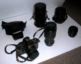 Yashica FX-D Quartz Vintage Camera 50mm f1.7, MACRO 70-210mm f4.5, 28mm f1.8 Yashica Lens and winder