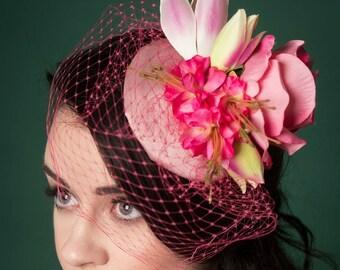 Fascinator Hat Pink Floral Pink Veil Vintage Style Bridal Wedding