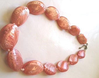Vintage Pink Abalone Shell  Sea Ear Necklace