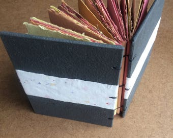 Fire journal, charcoal, ash, flame, handmade paper, sketch book, travel journal, guest book, recycled paper, sketchbook, homemade paper